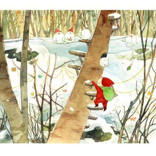 children illustration of animals in snow