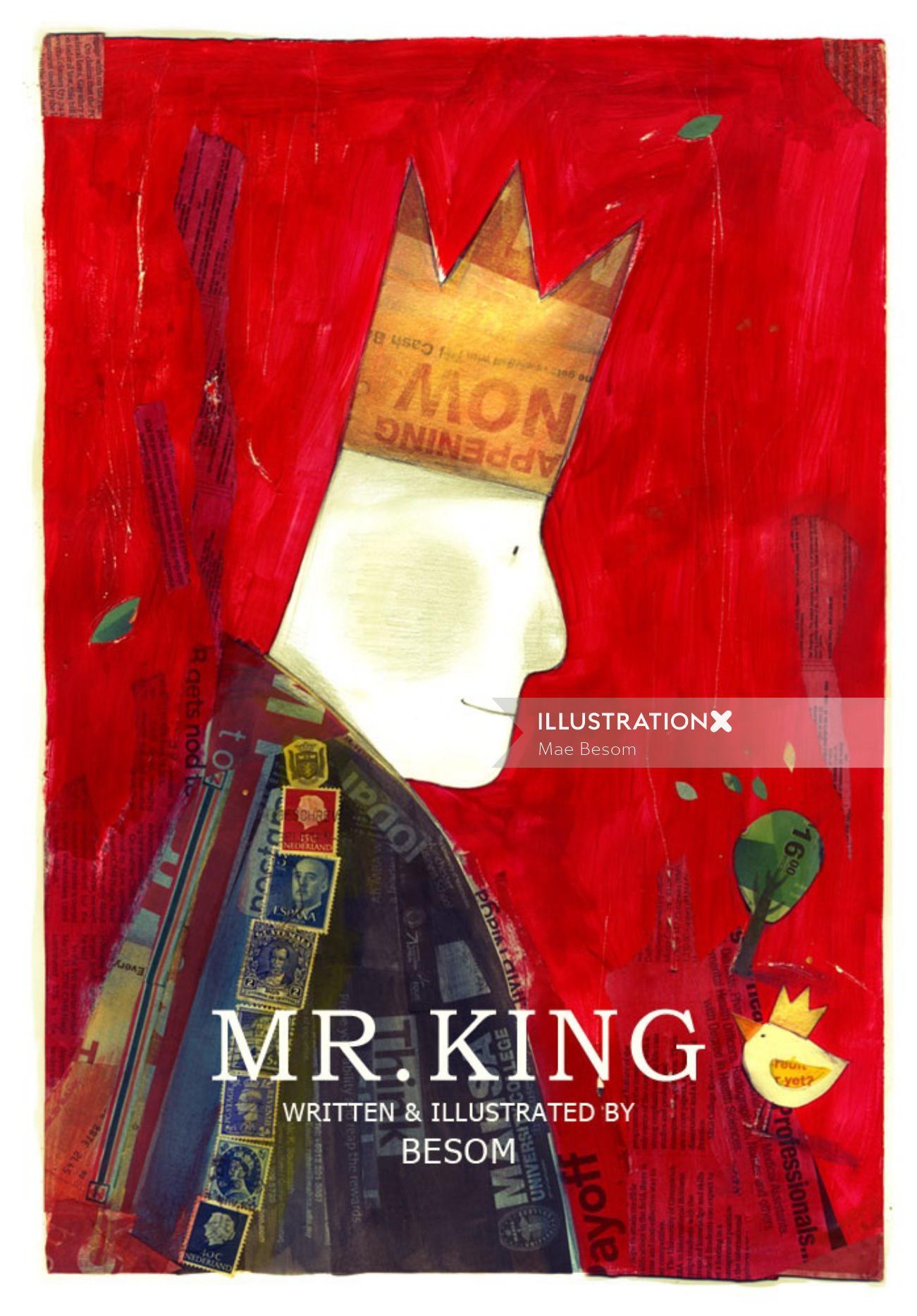 Mr king watercolor illustration