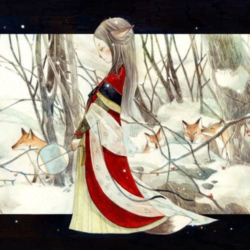 Children book illustration of princess in forest with wolves