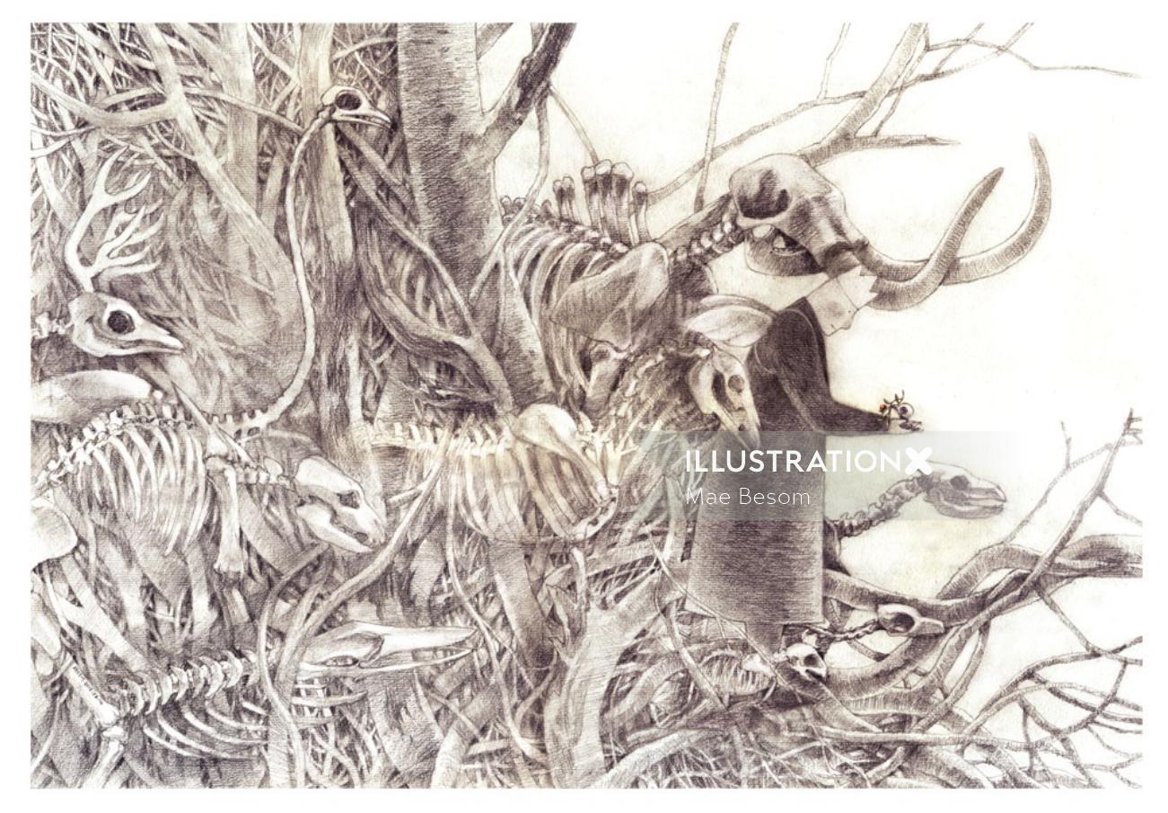Line illustration of dead animals