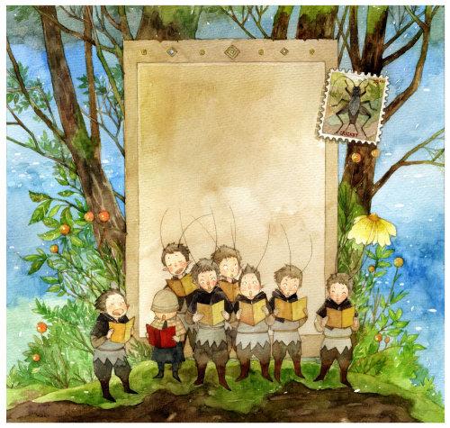 Gente aprendiendo sobre la ilustración del libro de cuentos del bosque