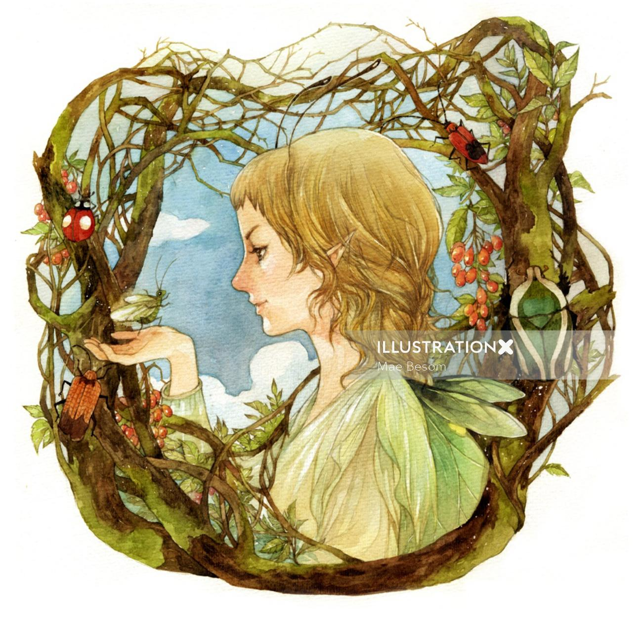 children girl with bug