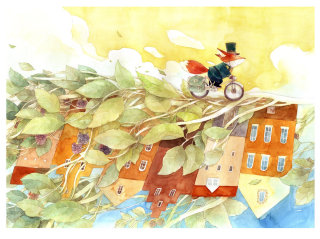 Watercolor painting of red fox riding bicycle