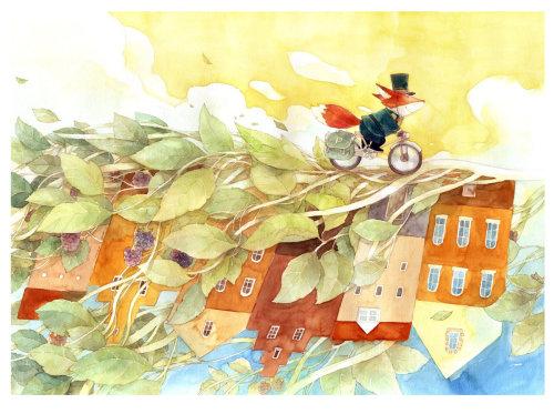 Peinture aquarelle de renard roux à vélo