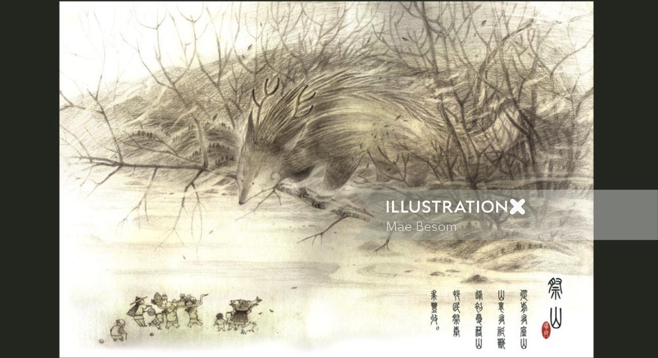 Line illustration of fox on tree
