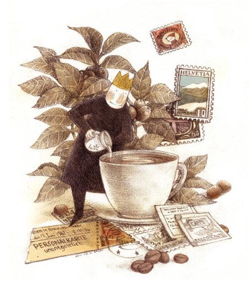 Children character preparing big coffee