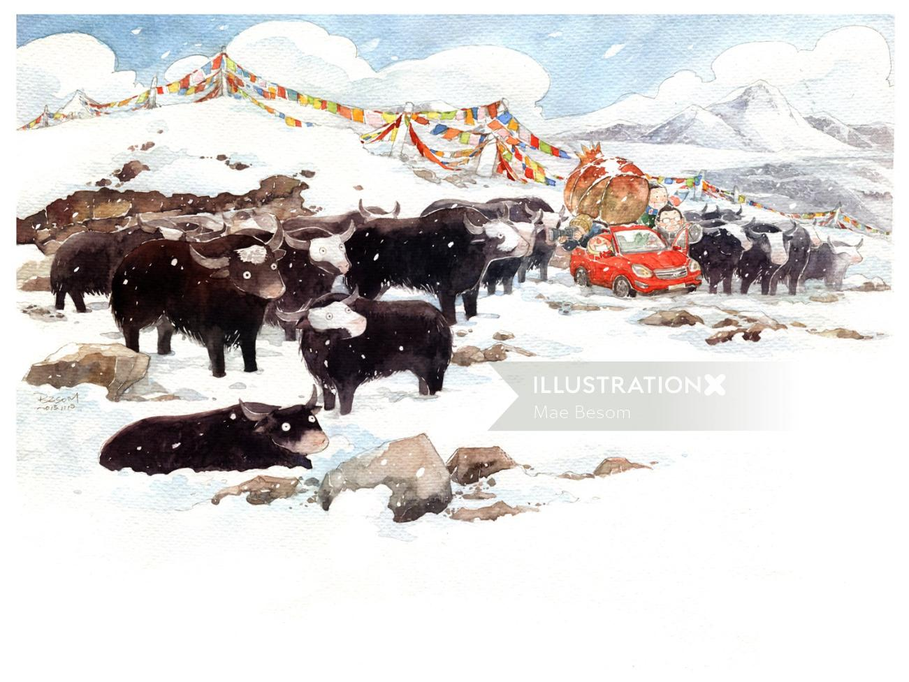 Animals buffaloes in snow