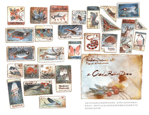 Contemporary stamps painting