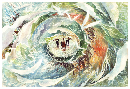 Pintura al agua de personas en un ciclón.