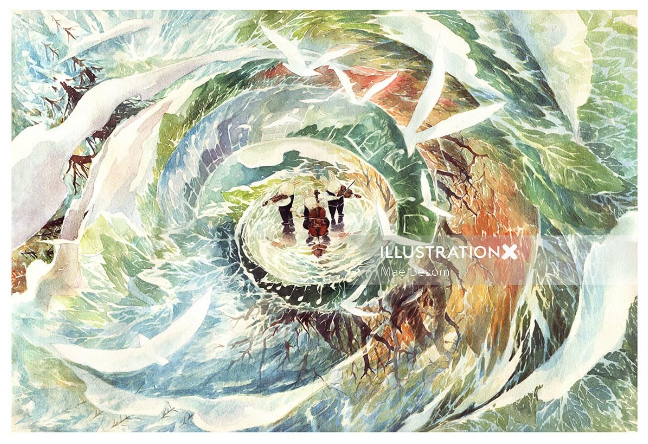 Water colour painting of people struct in a cyclone