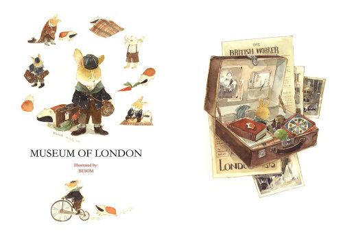 Ilustración de conejo vintage en el Museo de Londres