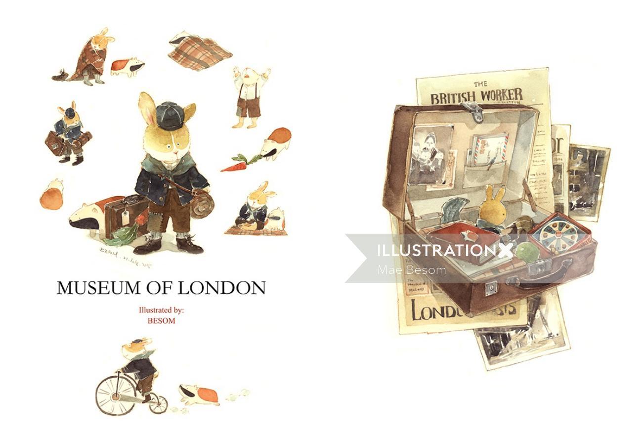 vintage rabbit illustration in Museum of London