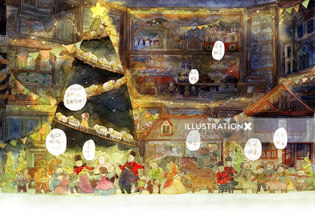 Children illustration of christmas tree