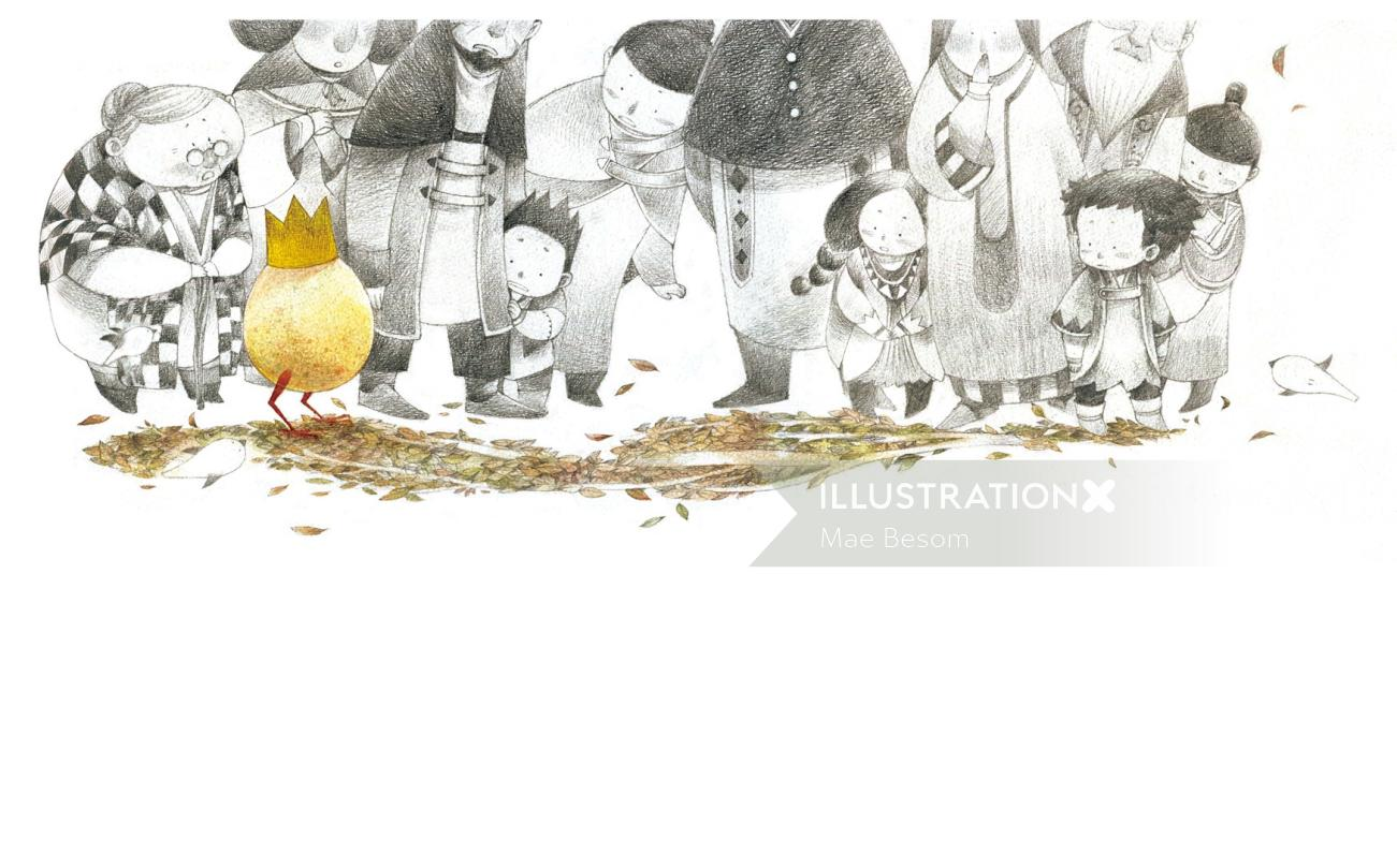 Illustration of Chicken king and kids