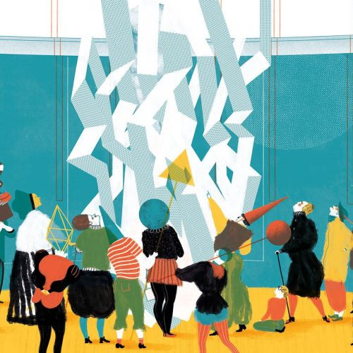 people gathered around a paper sculpture