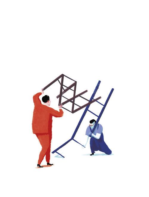 dos personas tratando de resolver un rompecabezas