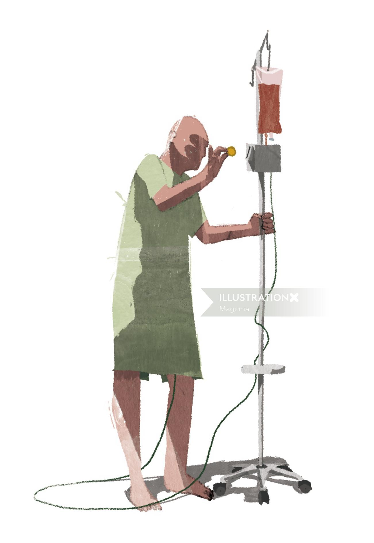 status of present healthcare represented by old man paying for blood