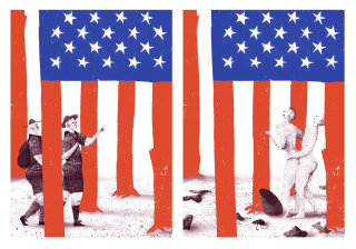 Satirical illustration of american flag