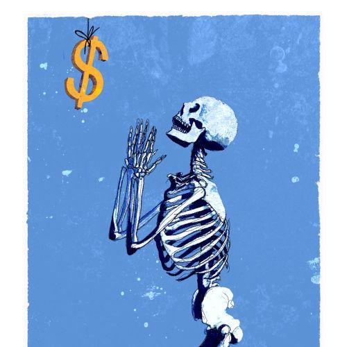 Conceptual art of skeleton praying dollar