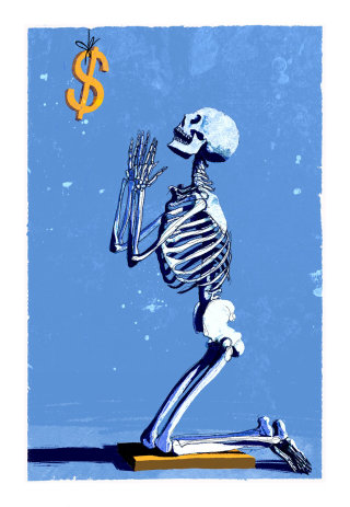 Conceptual art of skeleton praying dollar