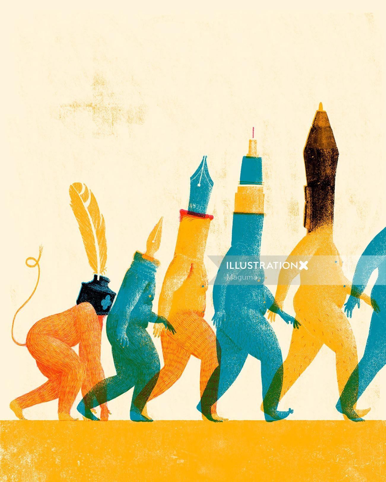 evolution of pens over time