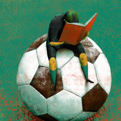 an illustration showing football and literature together