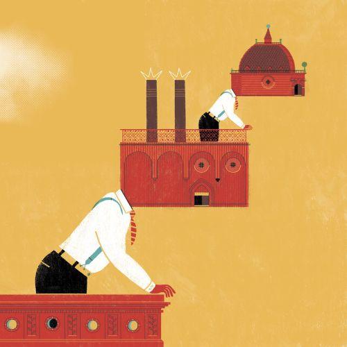 art work showing spanish companies leading the economy