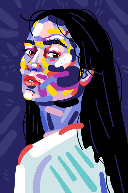 Watercolor portrait of beautiful girl for Refinery29's series