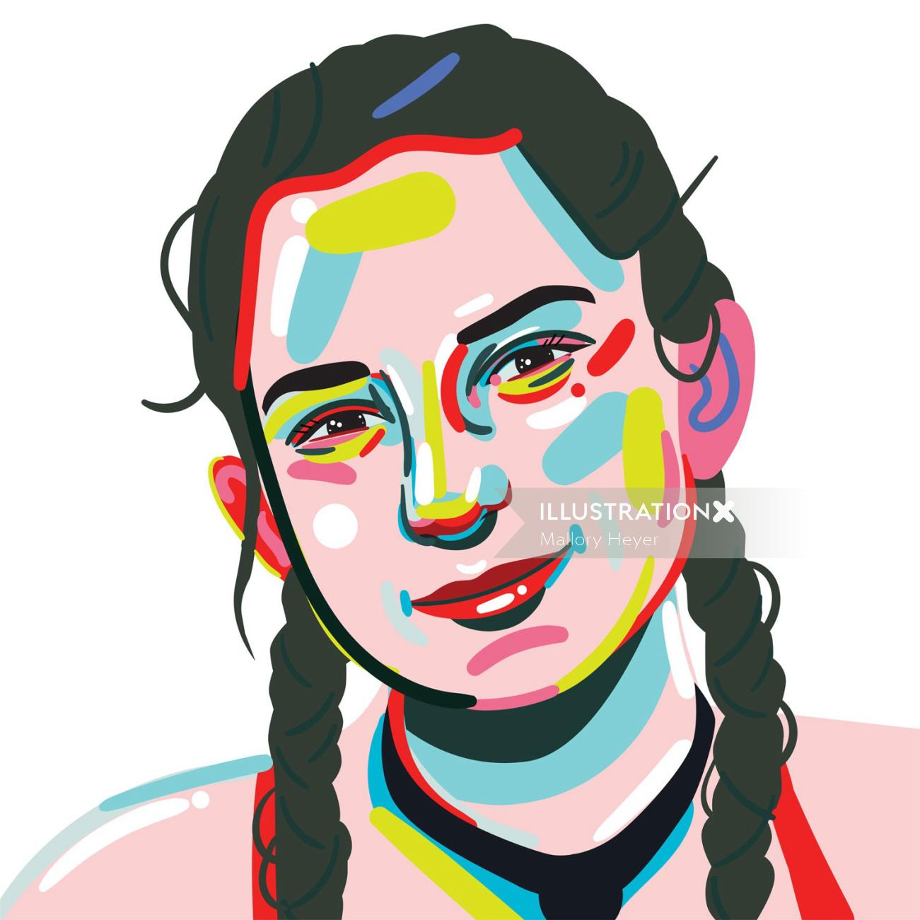 Portrait illustration of Kyra Condie by Mallory Heyer
