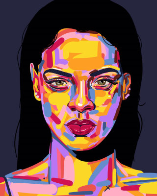 Portrait illustration of Rihanna by Mallory Heyer