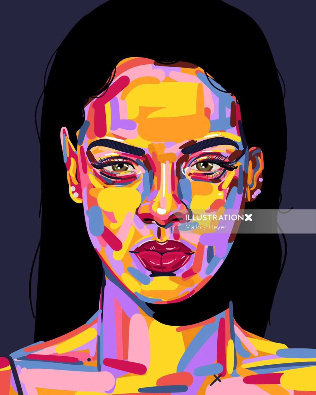 Portrait illustration of Rihanna by Mallory Heyer