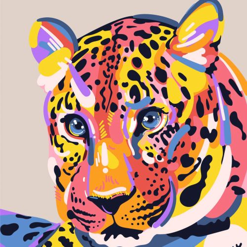 Amur Leopard portrait illustration by Mallory Heyer