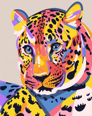 Amur Leopard portrait illustration by Mallory Heyer