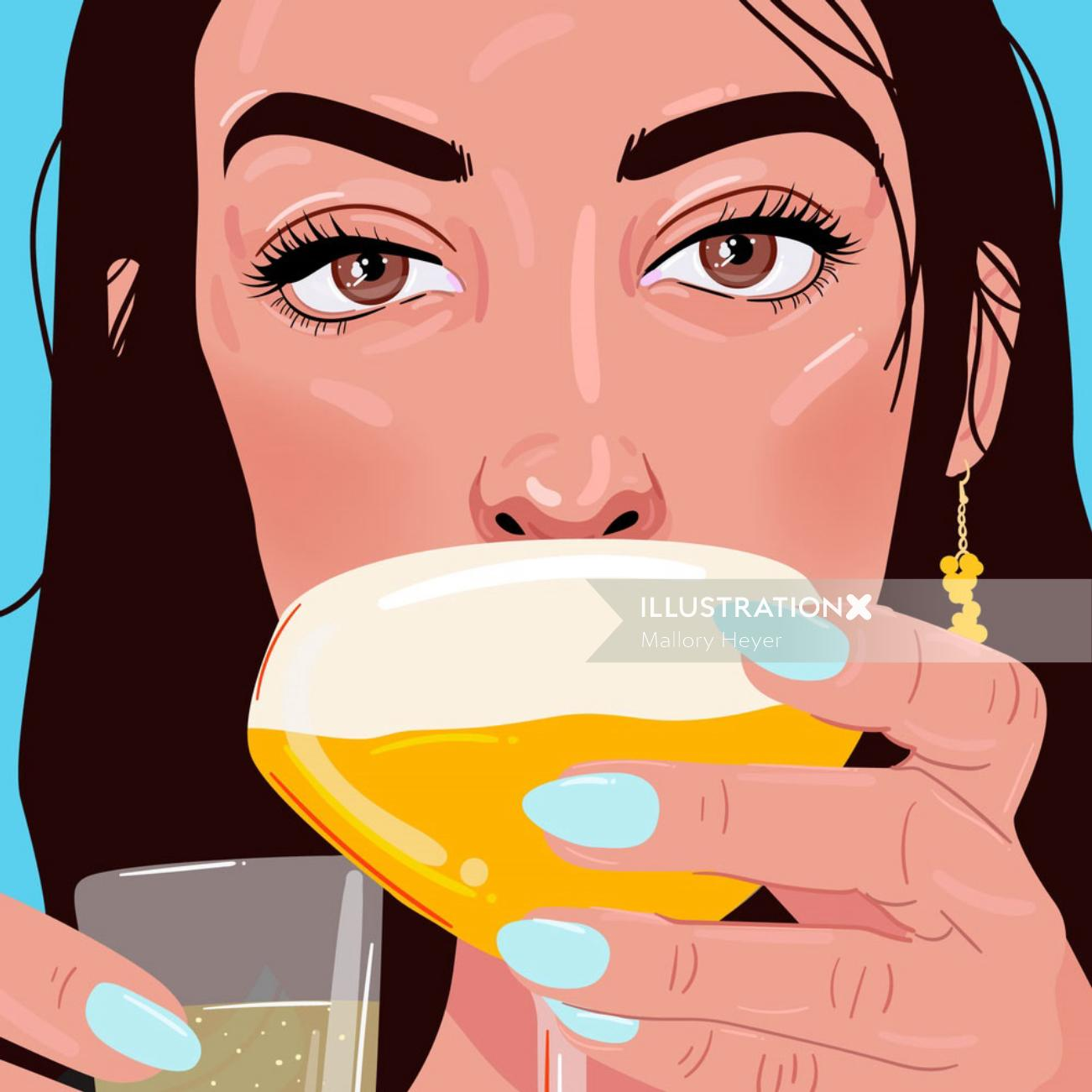 Editorial illustration of pornstar martini vodka
