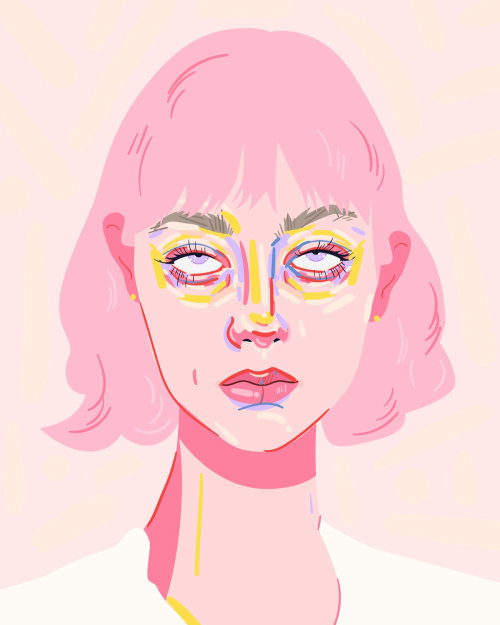 Portrait illustration of a girl rolling her eyes