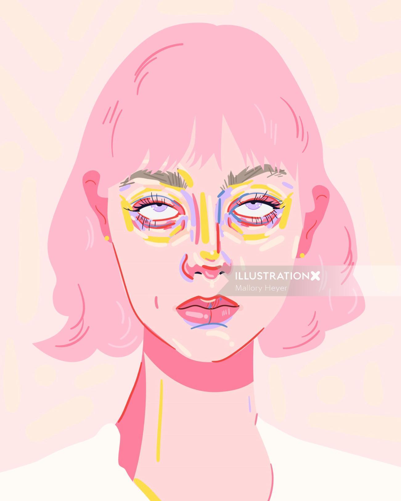 Portrait illustration of a girl rolling her eyes