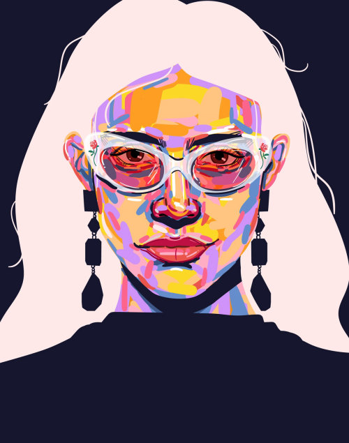 Portrait illustration of a woman wearing sunglasses