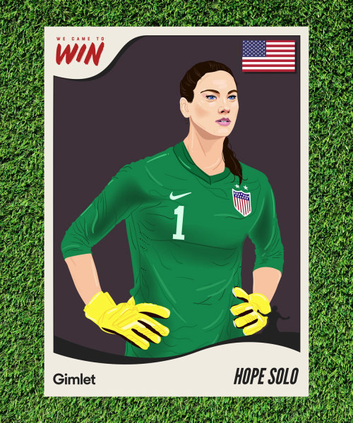Iluustration of Hope Solo for Gimlet Media's sport's