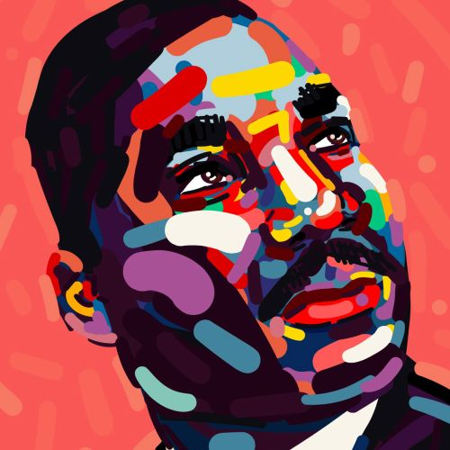 Portrait illustration of Martin Luther King Jr