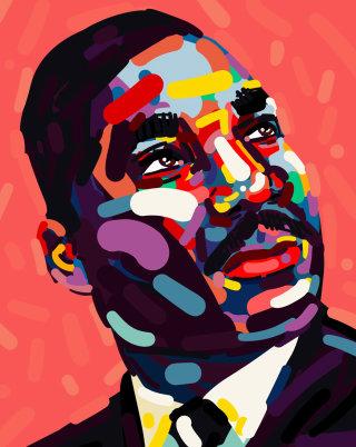 Portrait illustration of Martin Luther King Jr