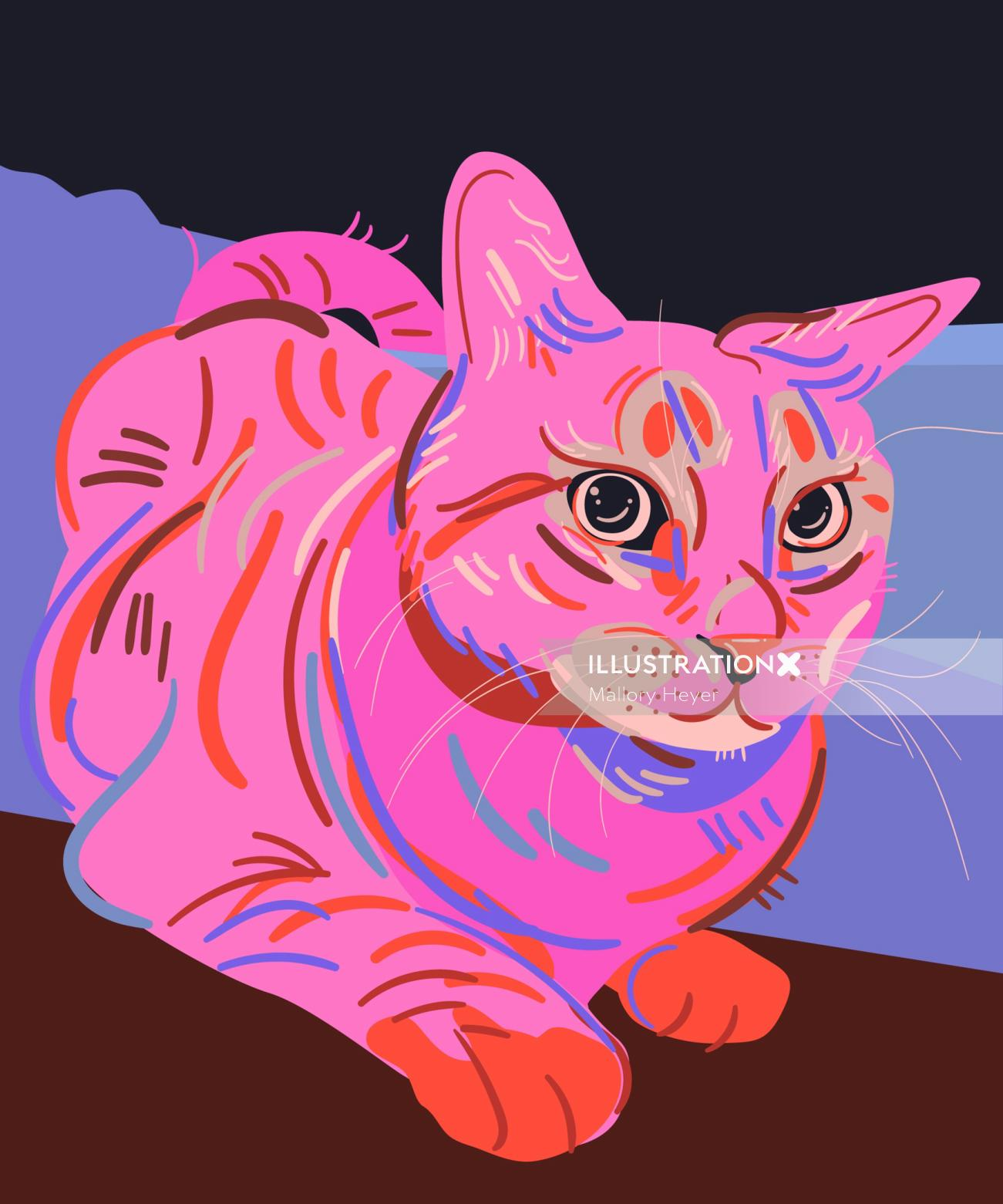 Portrait illustration of cat by Mallory Heyer