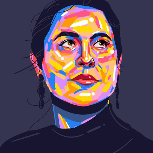 Graphic portrait illustration by Mallory Heyer