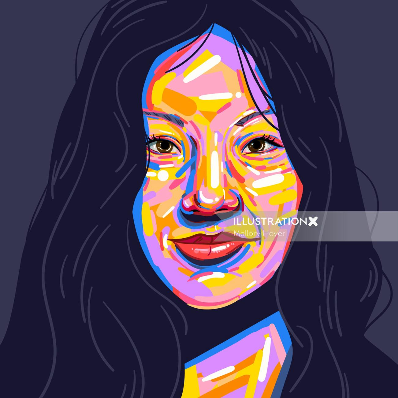 Portrait illustration of beautiful Girl by Mallory Heyer