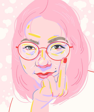 Portrait illustration of millennial thinker