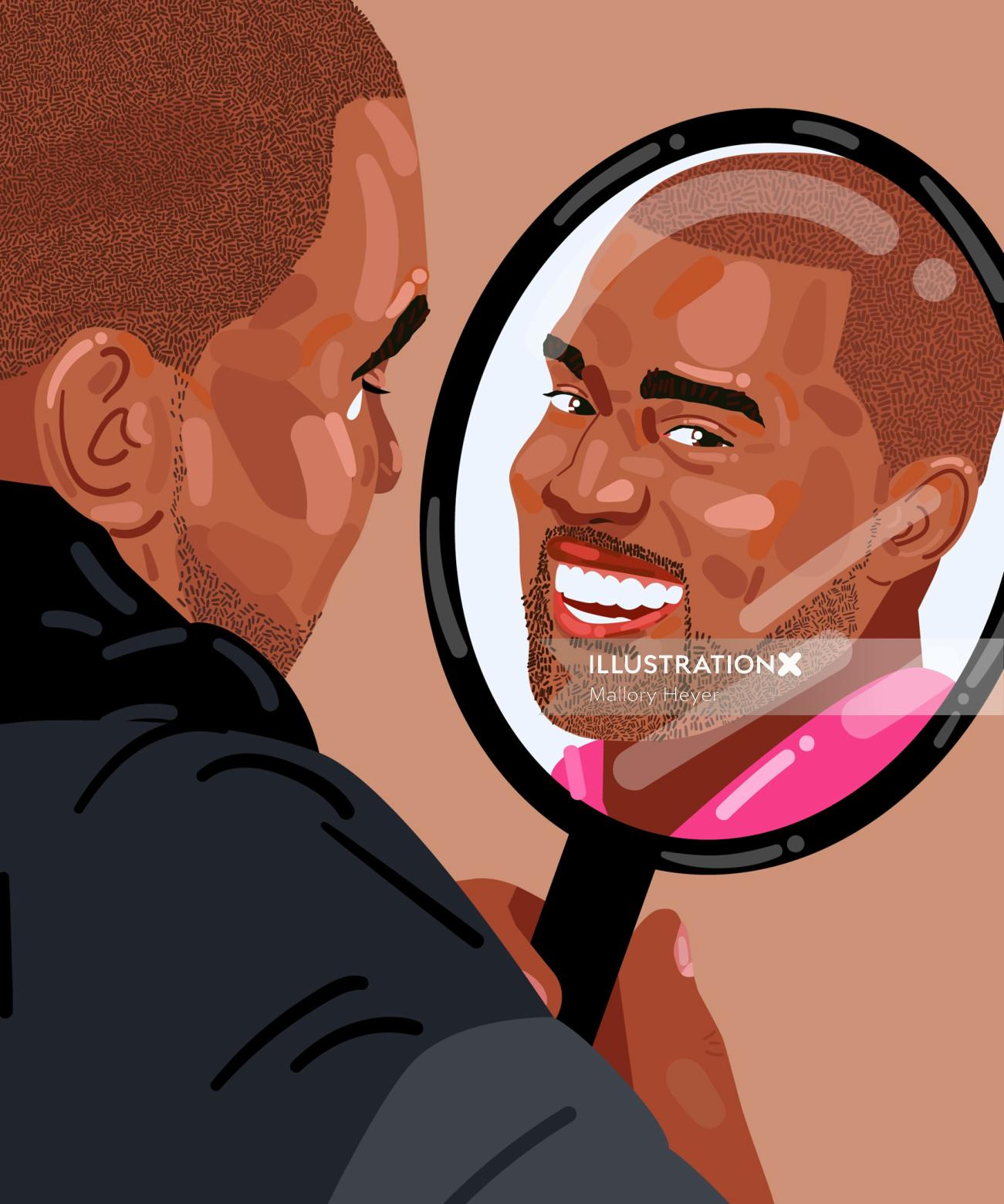 Kanye West portrait illustration by Mallory Heyer