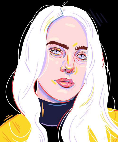 Portrait illustration of Billie Eilish by Mallory Heyer