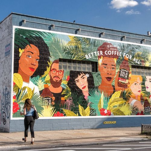 Mural Illustration for debut of Califia cold brew coffee at Whole Foods