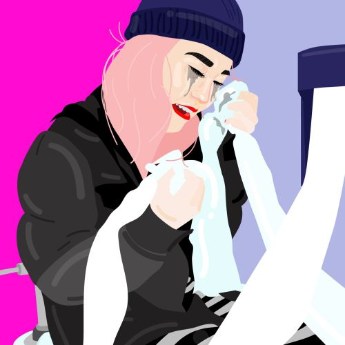 Editorial illustration with Refinery29 for bathroom etiquette