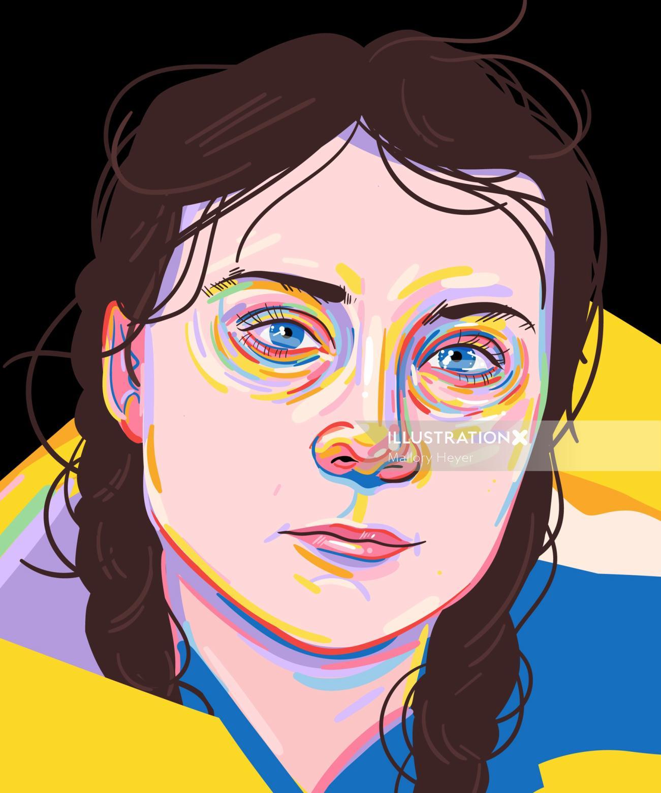 Greta Thunberg portrait illustration