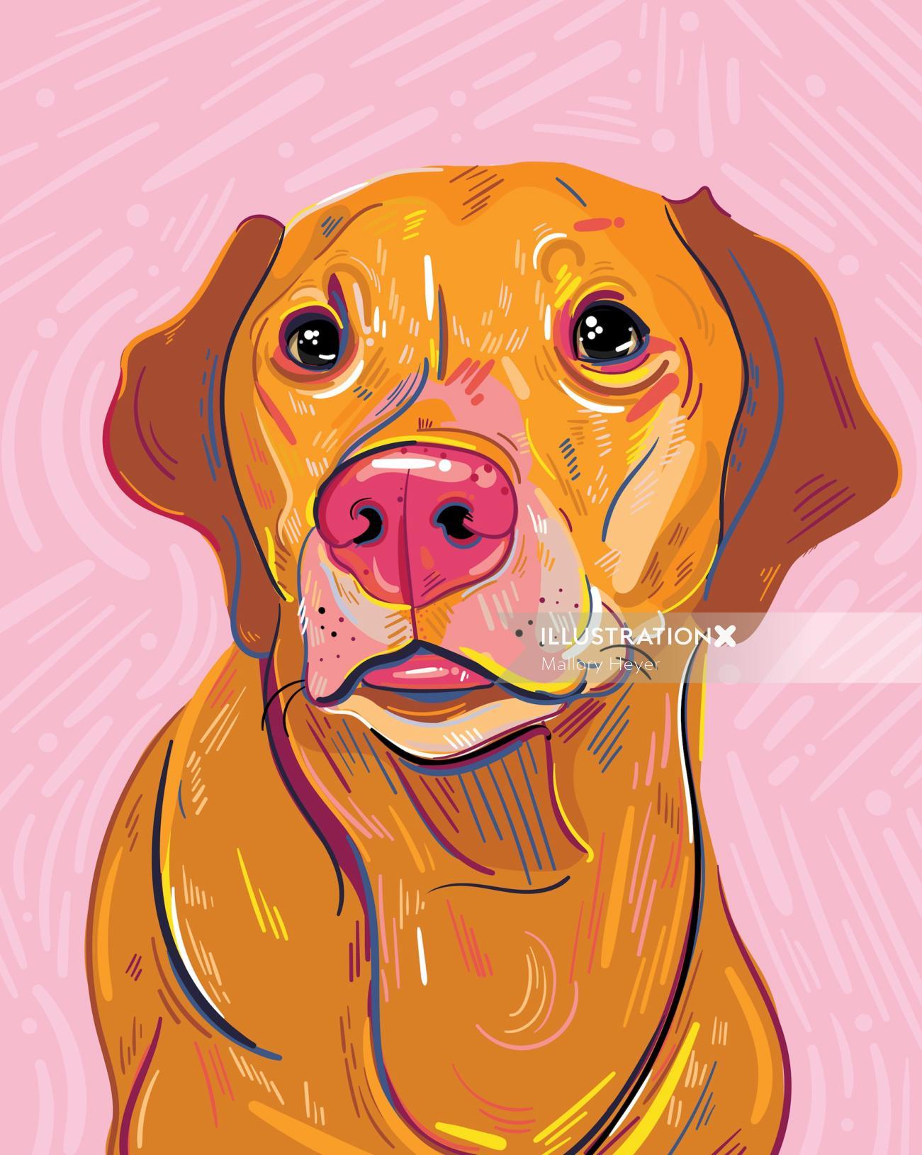 Digital portrait of dog